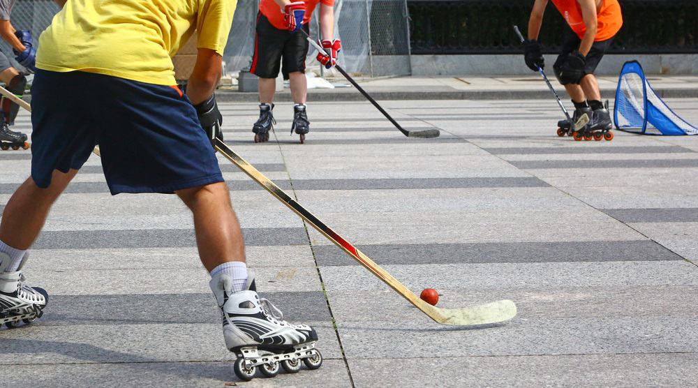 Roller Inline Hockey Team Playing